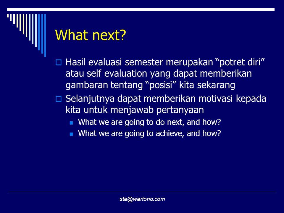 What next Hasil evaluasi semester merupakan potret diri atau self evaluation yang dapat memberikan gambaran tentang posisi kita sekarang.