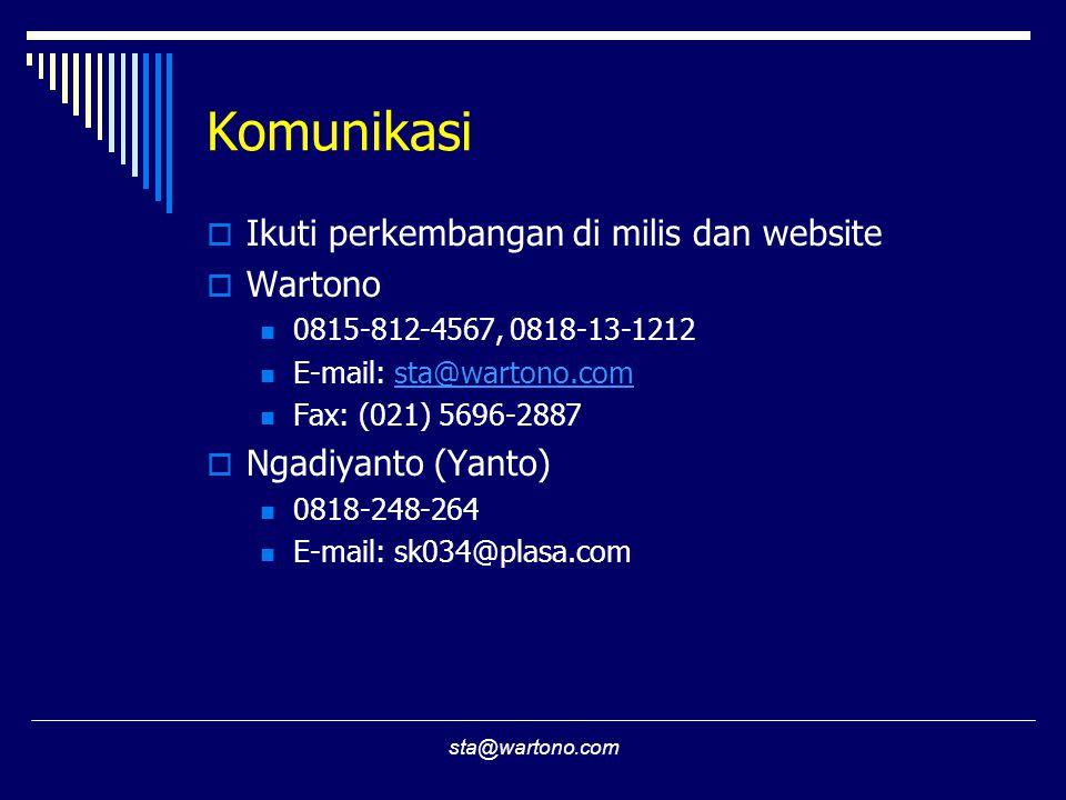Komunikasi Ikuti perkembangan di milis dan website Wartono