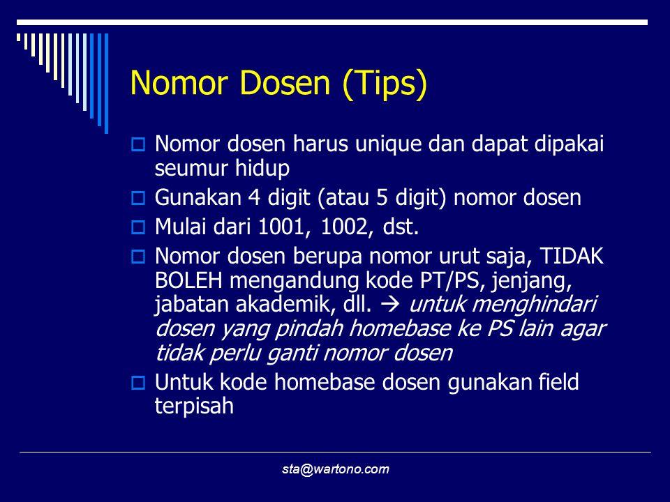 Nomor Dosen (Tips) Nomor dosen harus unique dan dapat dipakai seumur hidup. Gunakan 4 digit (atau 5 digit) nomor dosen.