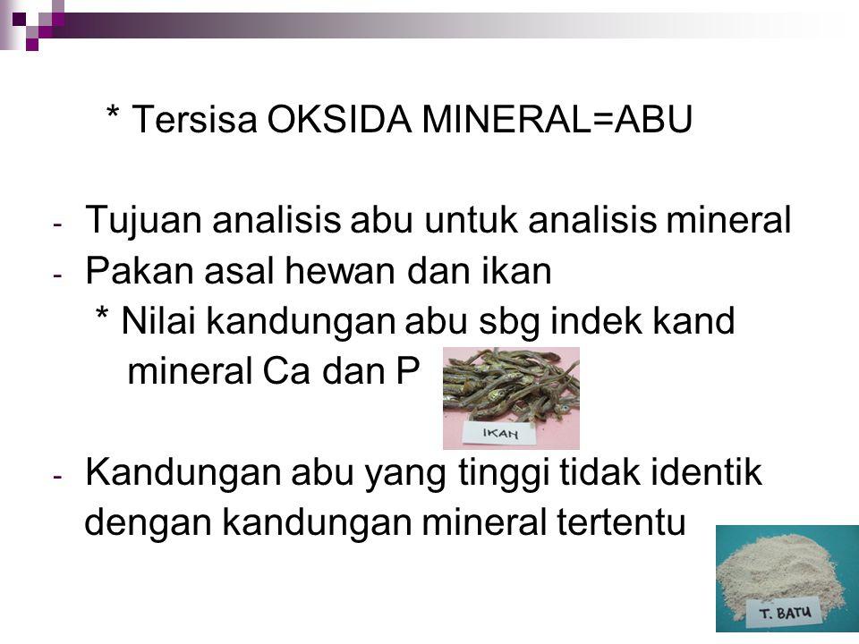 * Tersisa OKSIDA MINERAL=ABU