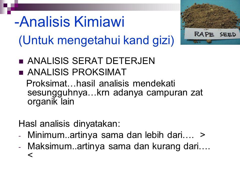 Analisis Kimiawi (Untuk mengetahui kand gizi)