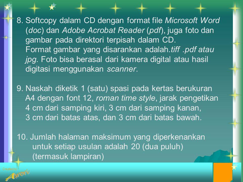 8. Softcopy dalam CD dengan format file Microsoft Word