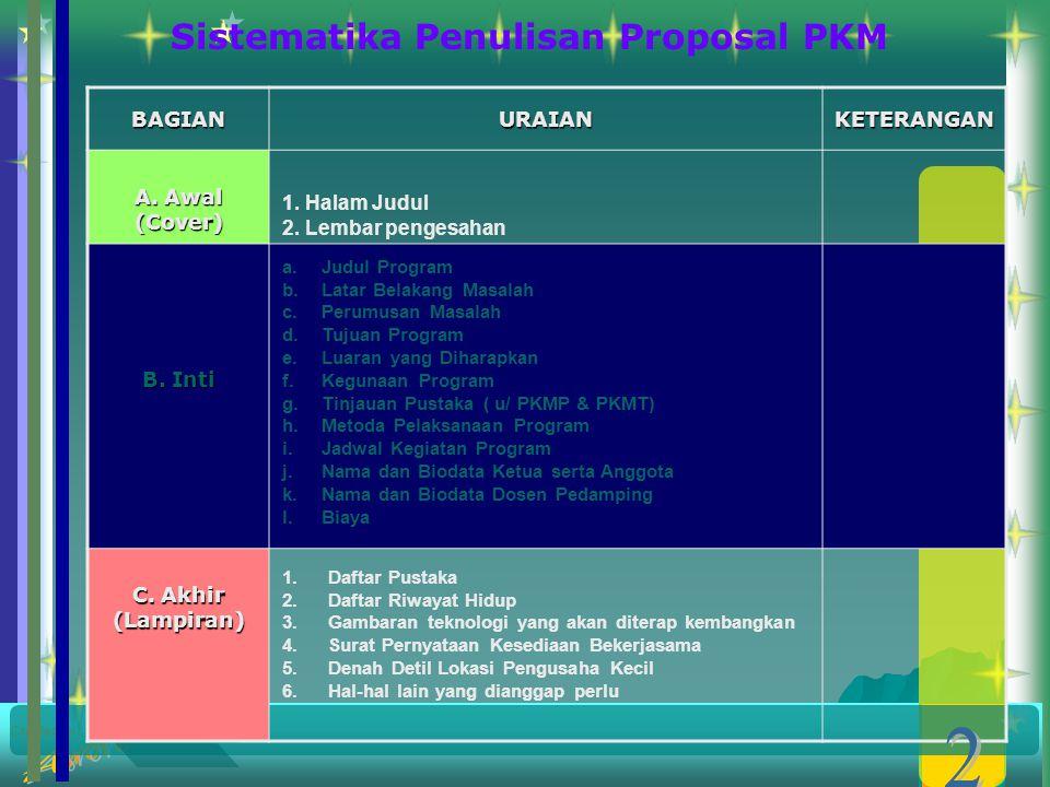 Sistematika Penulisan Proposal PKM