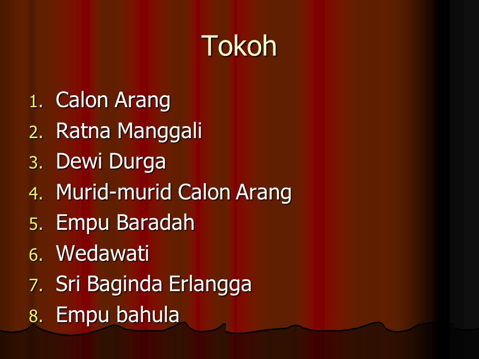 Tokoh Calon Arang Ratna Manggali Dewi Durga Murid-murid Calon Arang