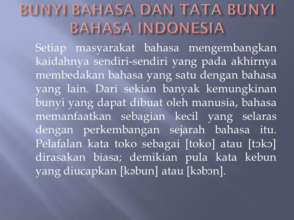 BUNYI BAHASA DAN TATA BUNYI BAHASA INDONESIA
