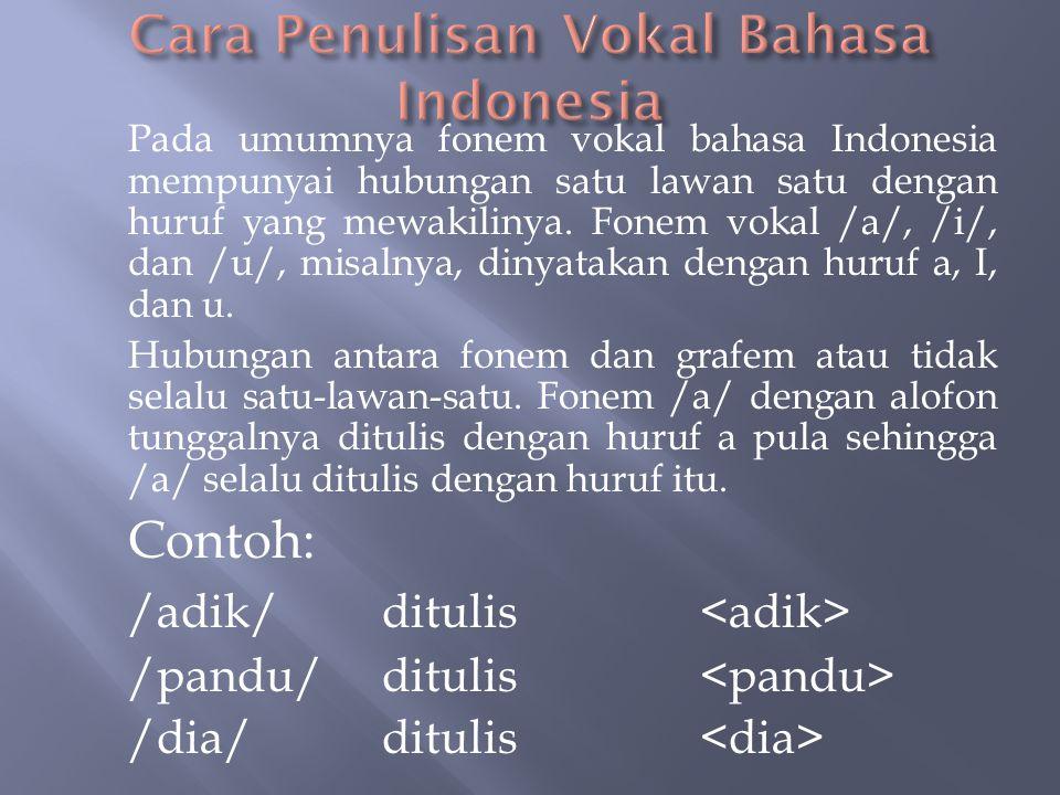 Cara Penulisan Vokal Bahasa Indonesia