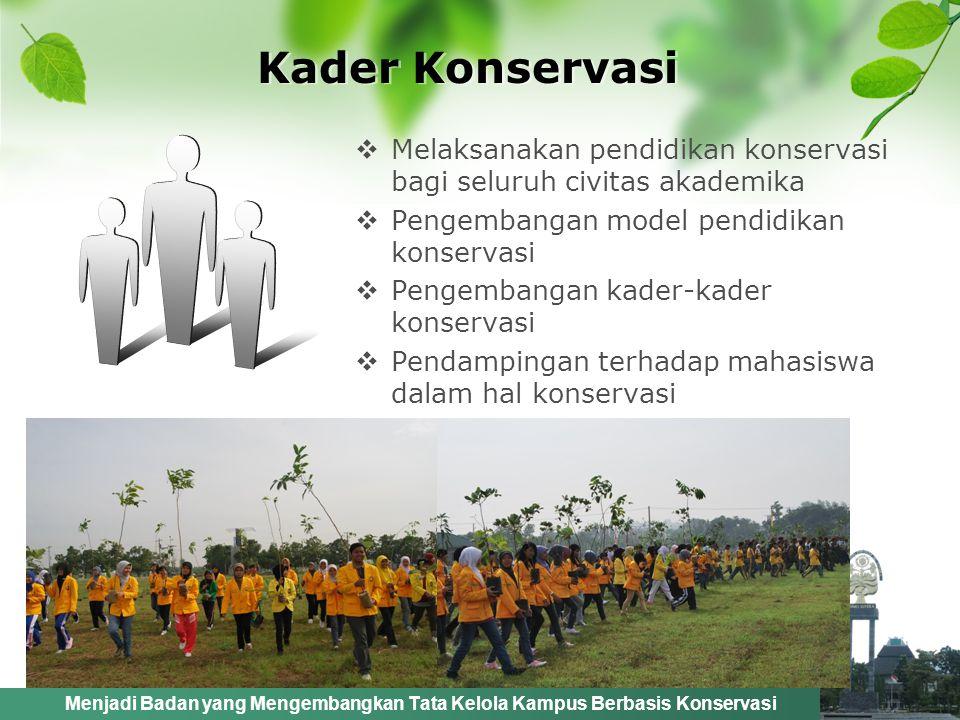 Kader Konservasi Melaksanakan pendidikan konservasi bagi seluruh civitas akademika. Pengembangan model pendidikan konservasi.