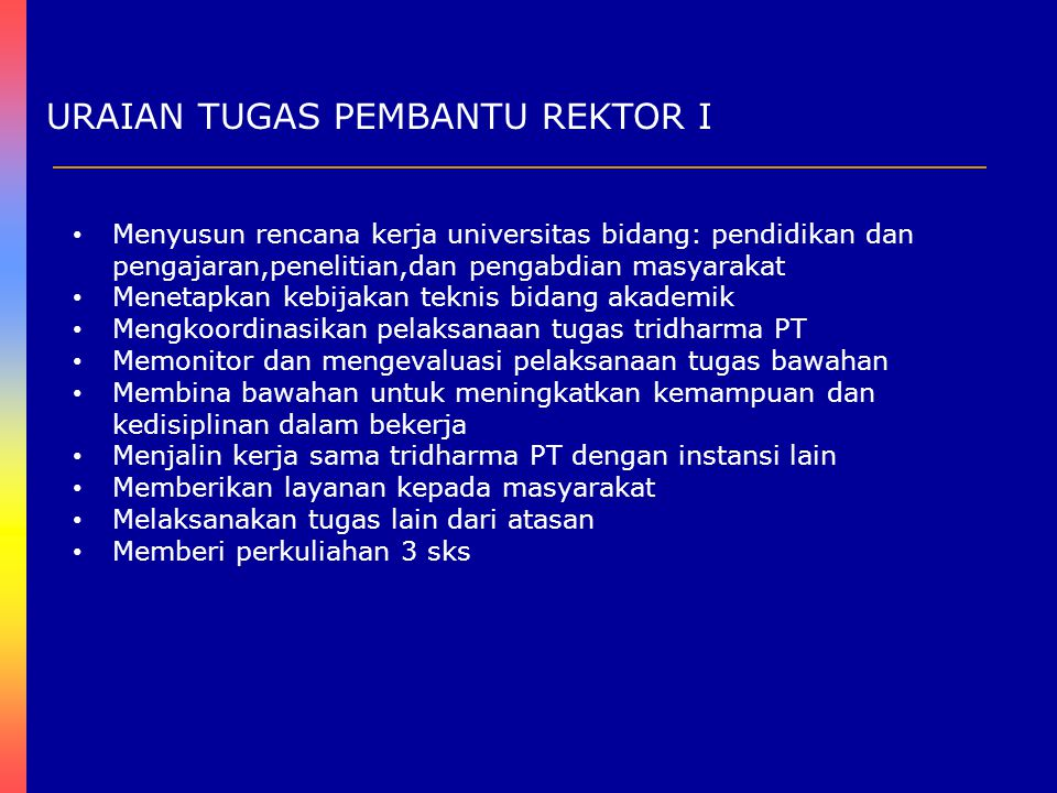 URAIAN TUGAS PEMBANTU REKTOR II