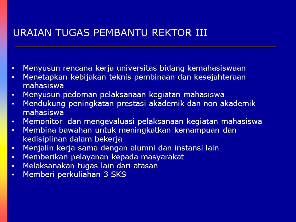 URAIAN TUGAS PEMBANTU REKTOR IV