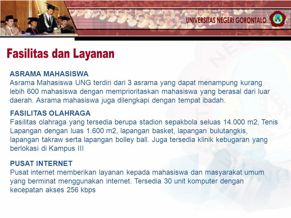 Fasilitas dan Layanan ASRAMA MAHASISWA