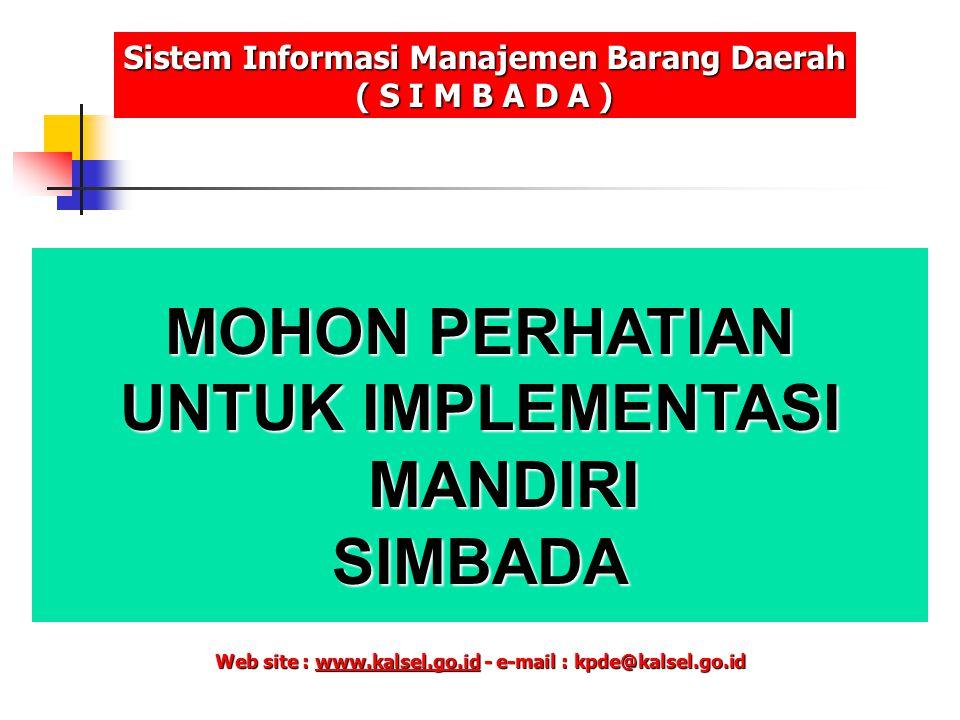 MOHON PERHATIAN UNTUK IMPLEMENTASI MANDIRI SIMBADA