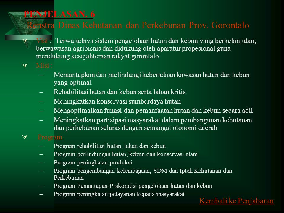 Renstra Dinas Kehutanan dan Perkebunan Prov. Gorontalo