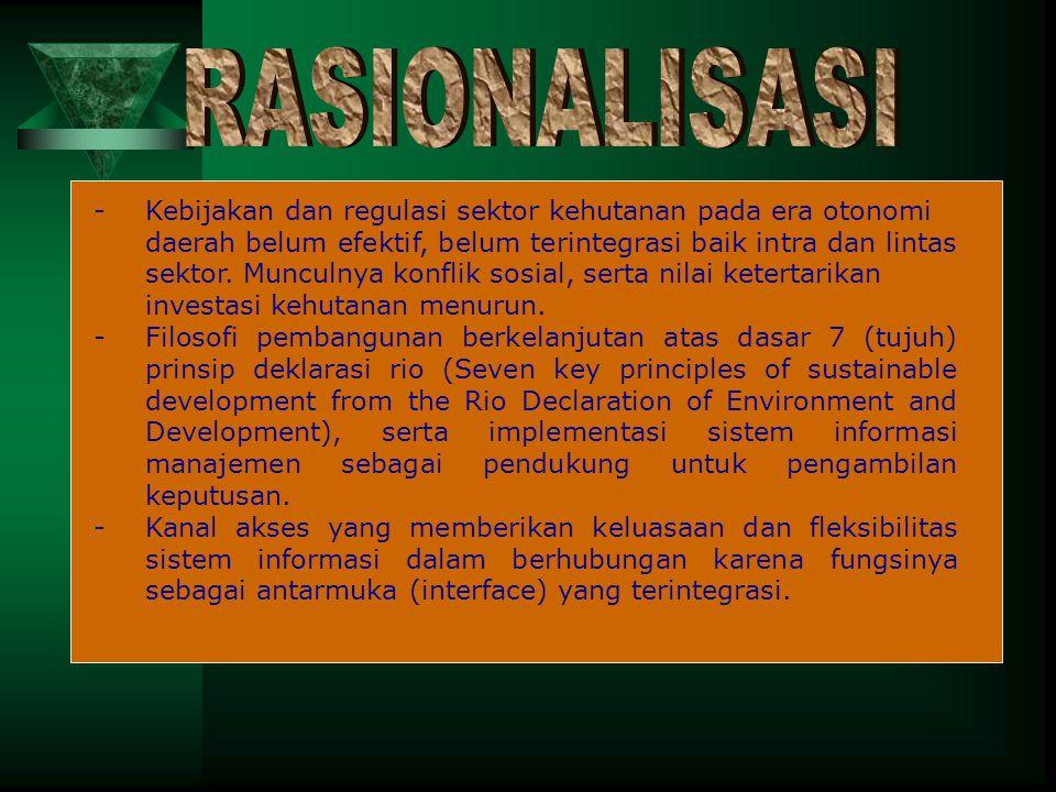 RASIONALISASI - Kebijakan dan regulasi sektor kehutanan pada era otonomi.