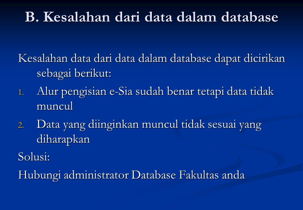 B. Kesalahan dari data dalam database