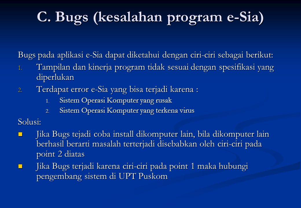 C. Bugs (kesalahan program e-Sia)