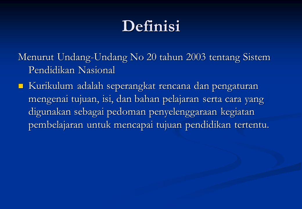 Definisi Menurut Undang-Undang No 20 tahun 2003 tentang Sistem Pendidikan Nasional.