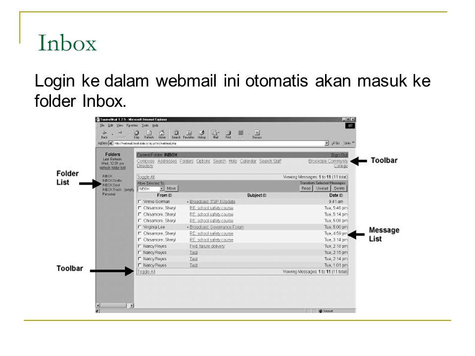 Inbox Login ke dalam webmail ini otomatis akan masuk ke folder Inbox.