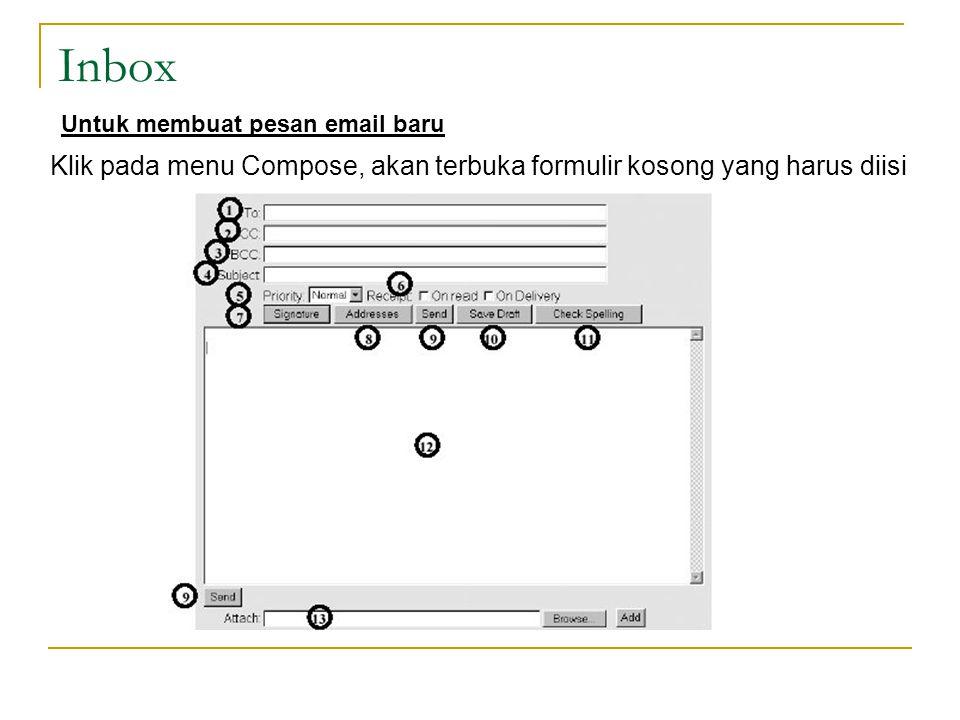 Inbox Untuk membuat pesan email baru.
