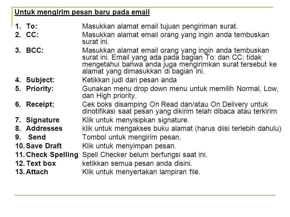 Untuk mengirim pesan baru pada email