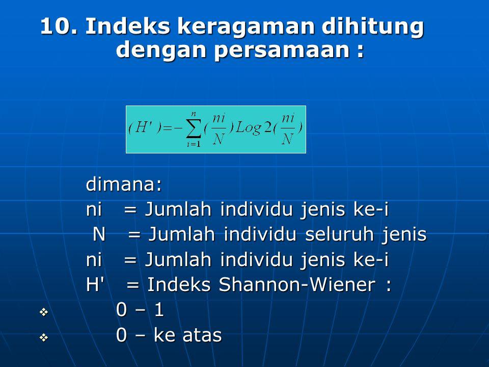 10. Indeks keragaman dihitung dengan persamaan :