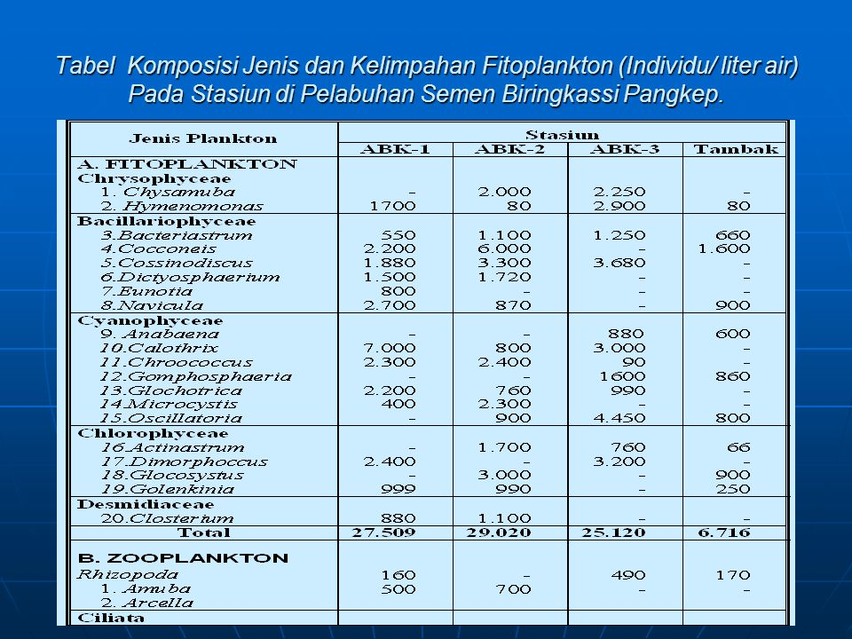 Tabel Komposisi Jenis dan Kelimpahan Fitoplankton (Individu/ liter air) Pada Stasiun di Pelabuhan Semen Biringkassi Pangkep.
