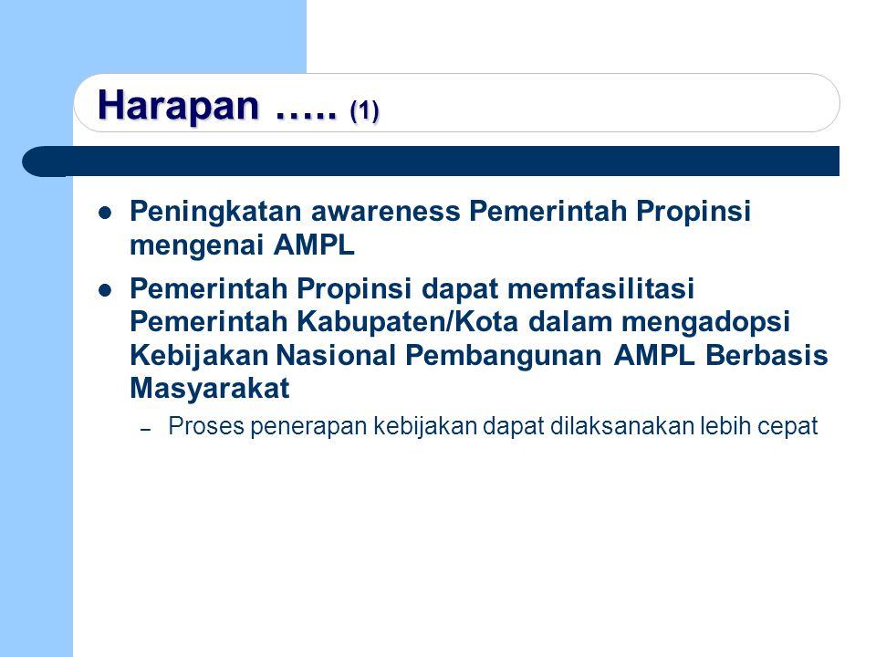 Harapan ….. (1) Peningkatan awareness Pemerintah Propinsi mengenai AMPL.