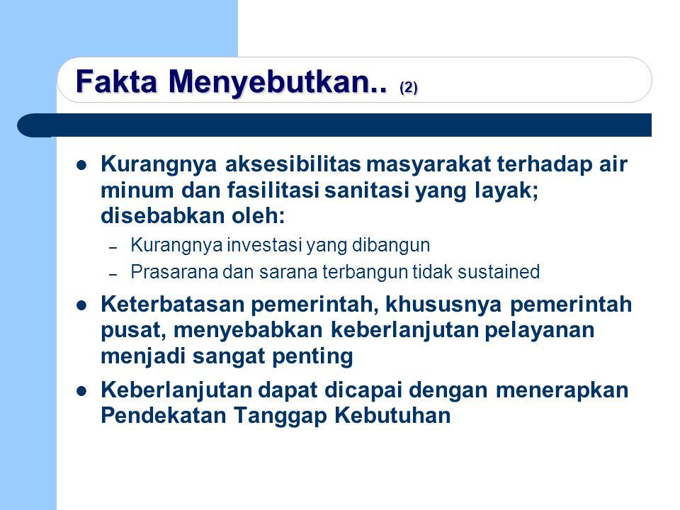 Fakta Menyebutkan.. (2) Kurangnya aksesibilitas masyarakat terhadap air minum dan fasilitasi sanitasi yang layak; disebabkan oleh: