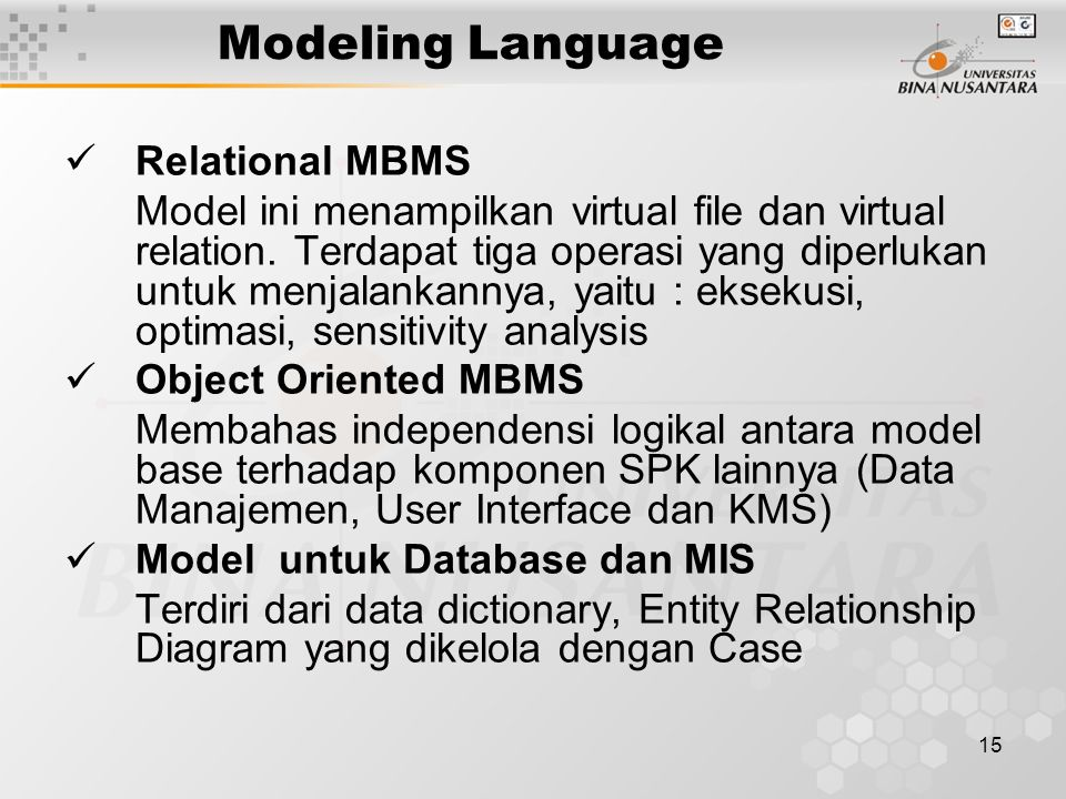 Modeling Language Relational MBMS