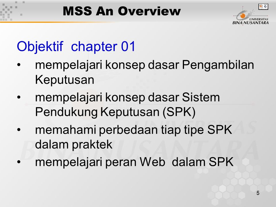 Objektif chapter 01 MSS An Overview