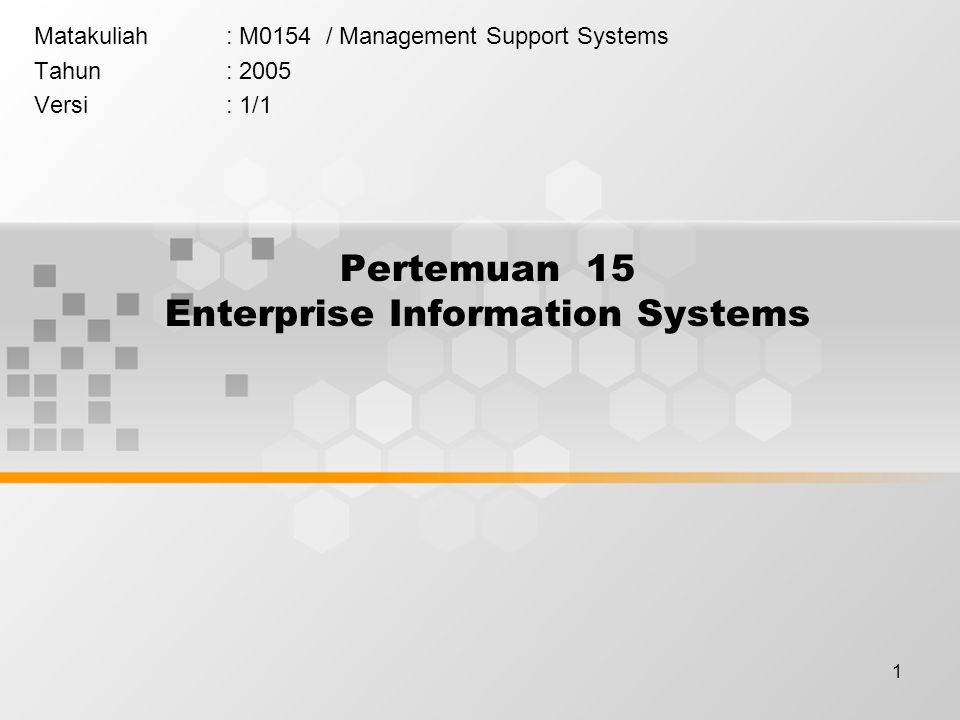 Pertemuan 15 Enterprise Information Systems
