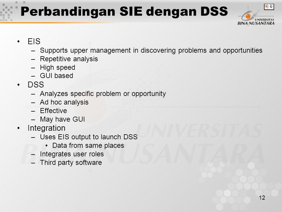 Perbandingan SIE dengan DSS