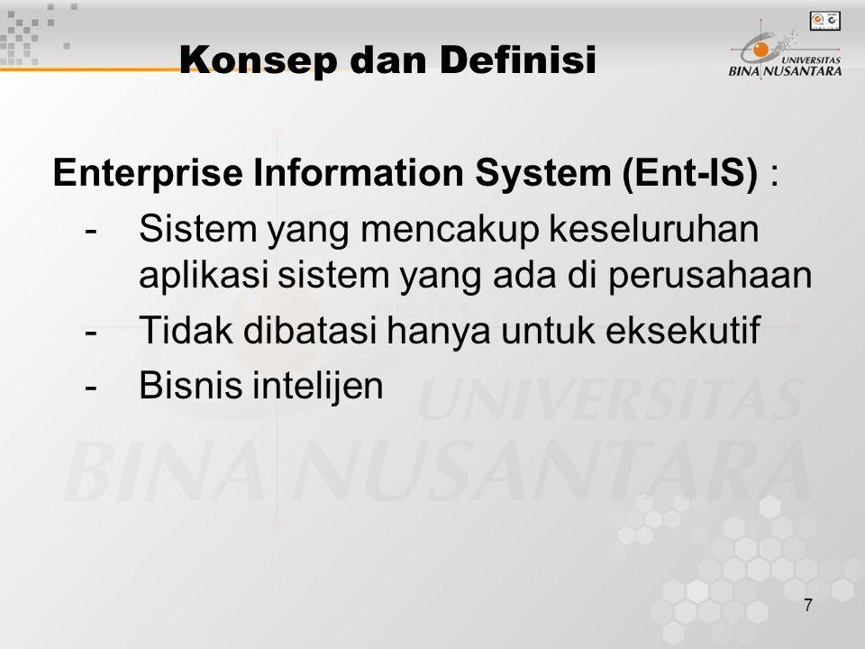 Konsep dan Definisi Enterprise Information System (Ent-IS) : - Sistem yang mencakup keseluruhan aplikasi sistem yang ada di perusahaan.