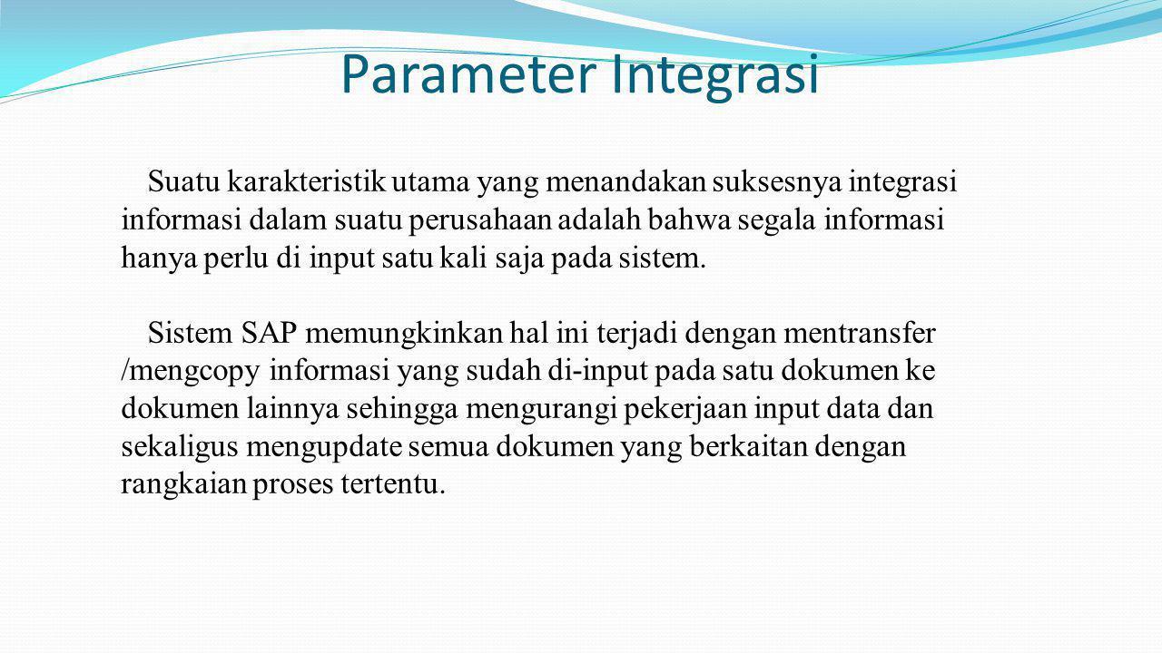 Parameter Integrasi Suatu karakteristik utama yang menandakan suksesnya integrasi. informasi dalam suatu perusahaan adalah bahwa segala informasi.