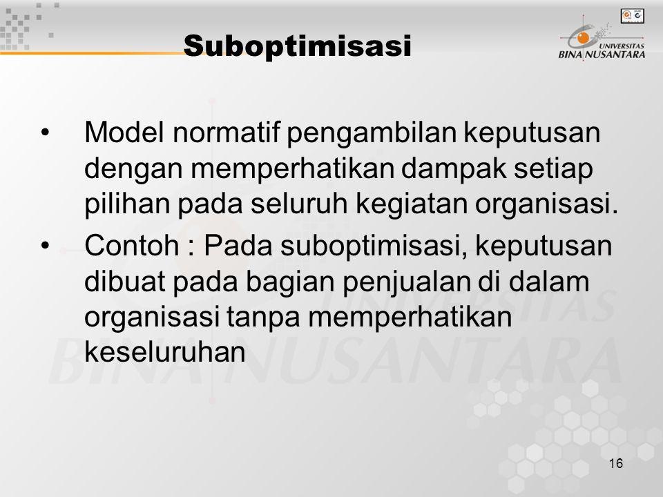 Suboptimisasi Model normatif pengambilan keputusan dengan memperhatikan dampak setiap pilihan pada seluruh kegiatan organisasi.