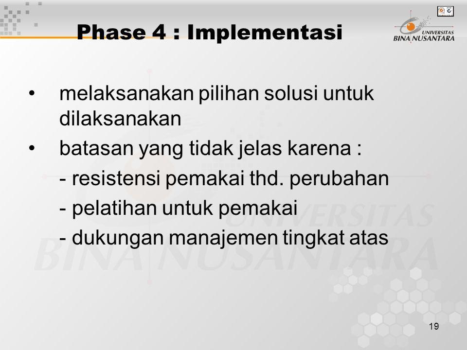 Phase 4 : Implementasi melaksanakan pilihan solusi untuk dilaksanakan. batasan yang tidak jelas karena :