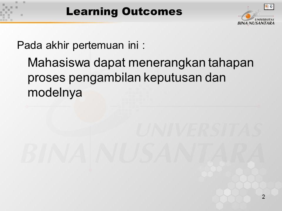 Learning Outcomes Pada akhir pertemuan ini : Mahasiswa dapat menerangkan tahapan proses pengambilan keputusan dan modelnya.