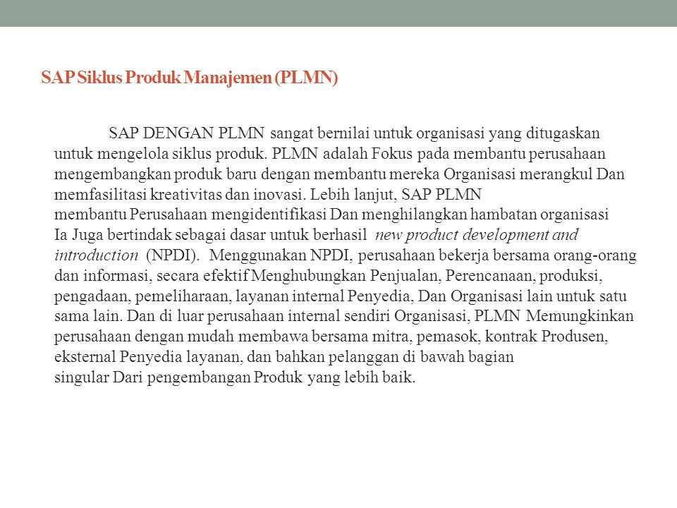 SAP Siklus Produk Manajemen (PLMN)