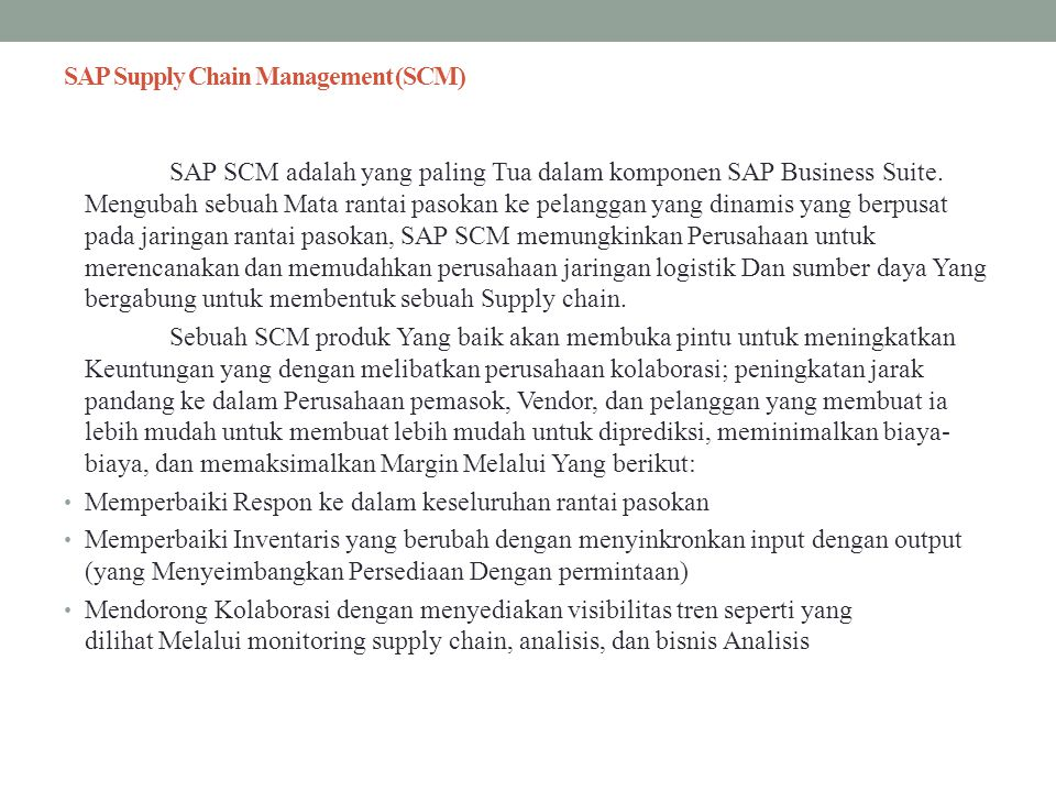 SAP Supply Chain Management (SCM)