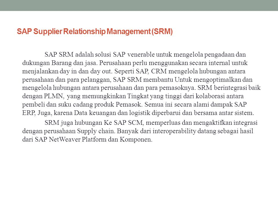 SAP Supplier Relationship Management (SRM)