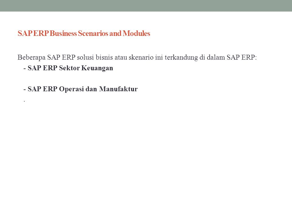 SAP ERP Business Scenarios and Modules