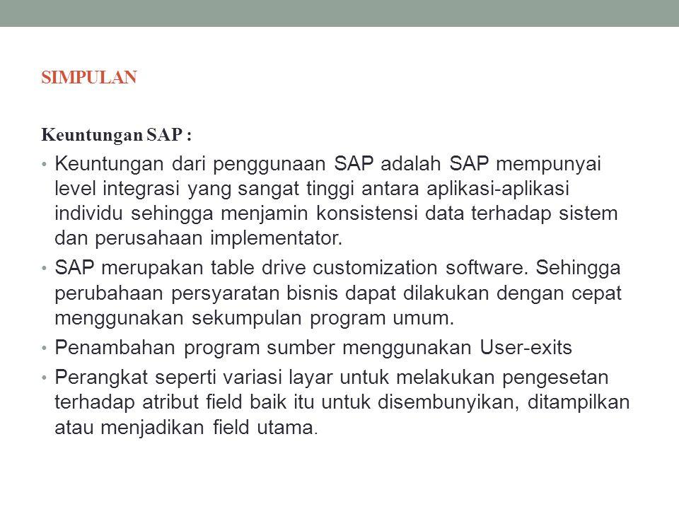 Penambahan program sumber menggunakan User-exits