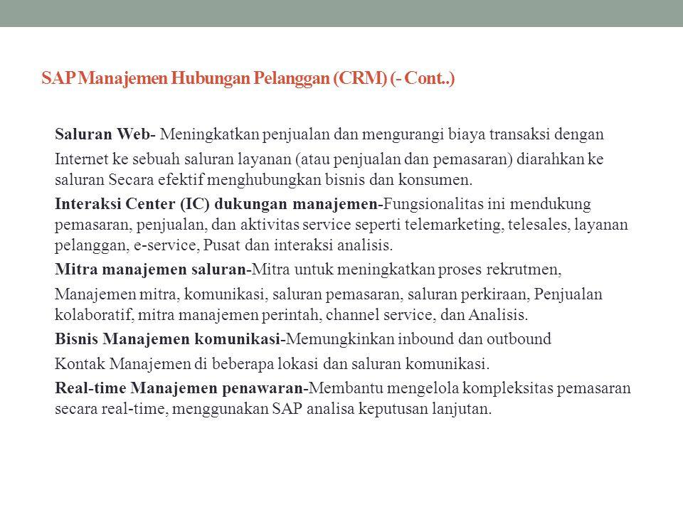 SAP Manajemen Hubungan Pelanggan (CRM) (- Cont..)