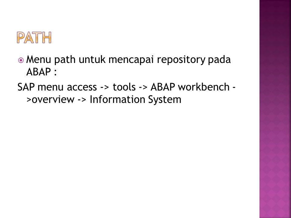 PAth Menu path untuk mencapai repository pada ABAP :
