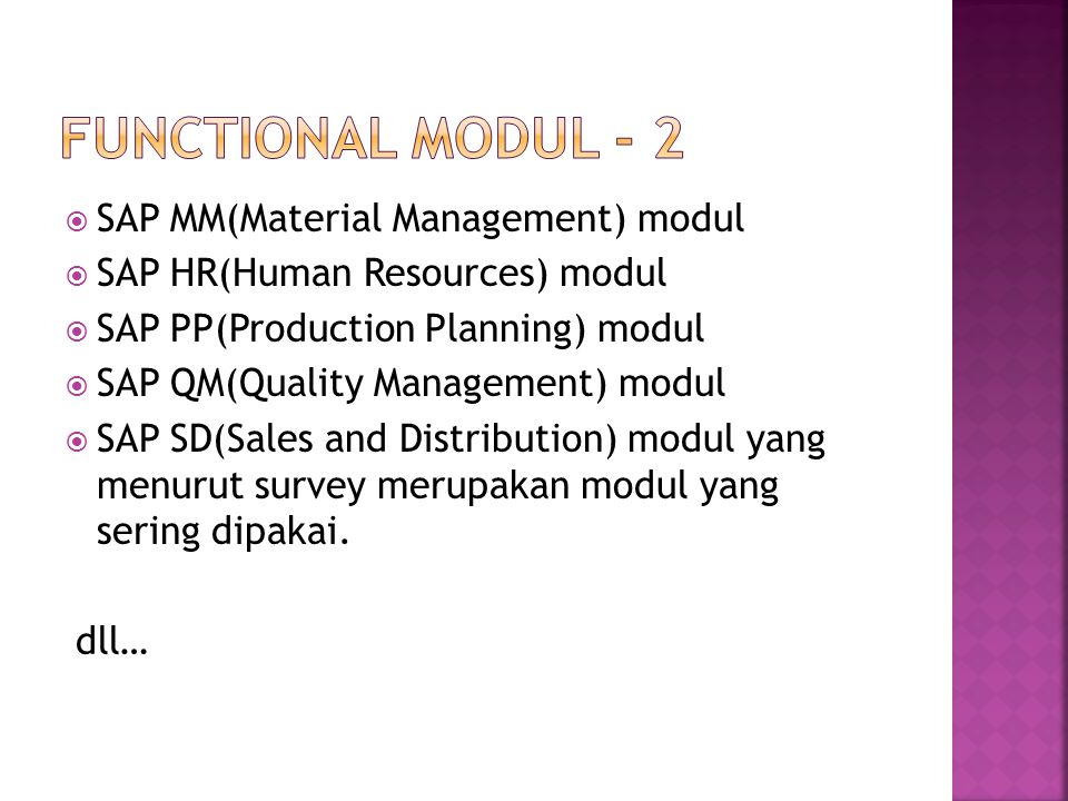 Functional modul - 2 SAP MM(Material Management) modul