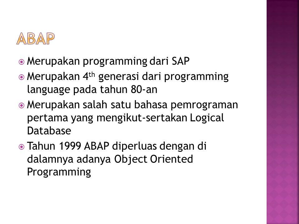 ABAP Merupakan programming dari SAP