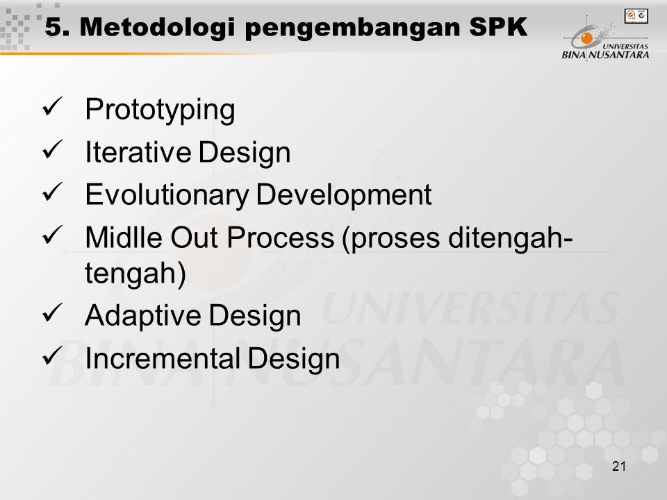 5. Metodologi pengembangan SPK