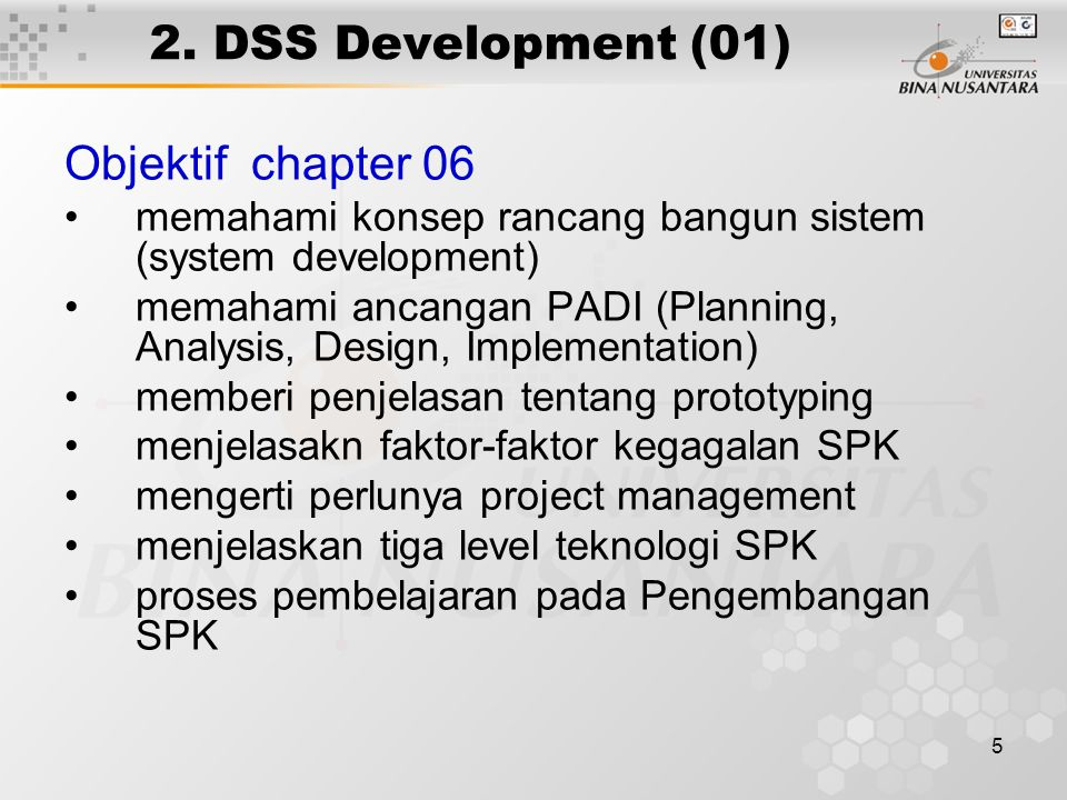 2. DSS Development (01) Objektif chapter 06