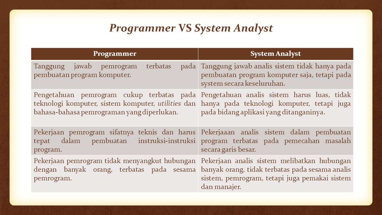 Programmer VS System Analyst