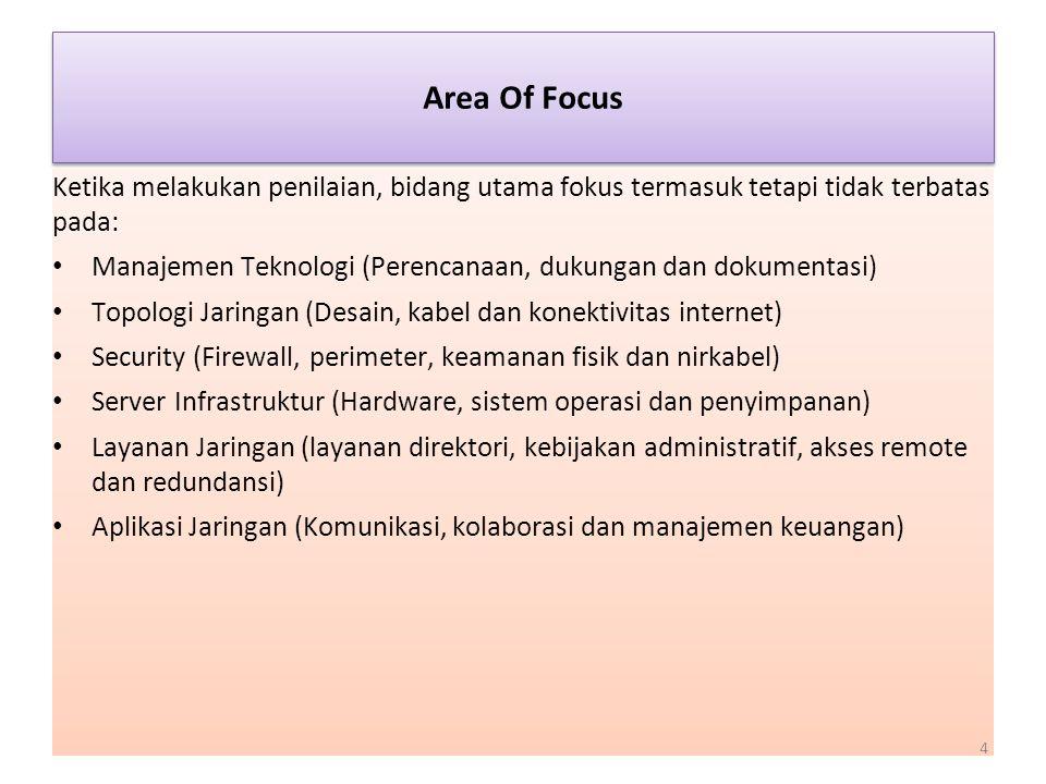 Area Of Focus Ketika melakukan penilaian, bidang utama fokus termasuk tetapi tidak terbatas pada:
