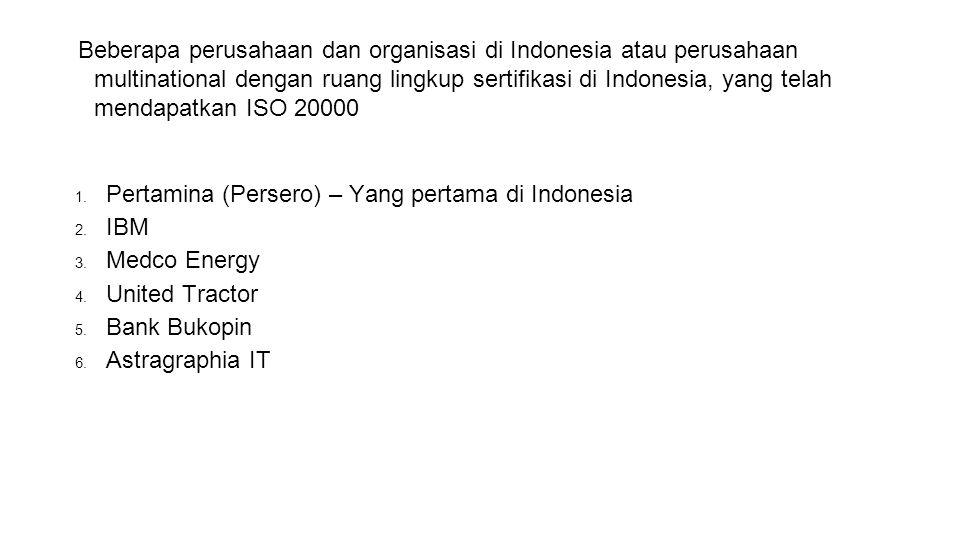 Beberapa perusahaan dan organisasi di Indonesia atau perusahaan multinational dengan ruang lingkup sertifikasi di Indonesia, yang telah mendapatkan ISO 20000